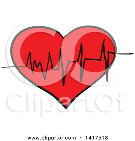 Cartoon of a Red Geart ECG Graph - Royalty Free Vector Clipart by ...