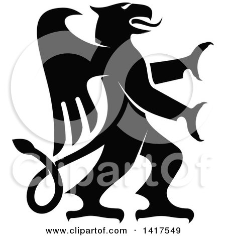 Clipart of a Black and White Rampant Griffin - Royalty Free Vector Illustration by Vector Tradition SM