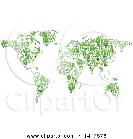 Clipart of a Map Formed of Leaf Lightbulbs - Royalty Free Vector Illustration by Vector Tradition SM