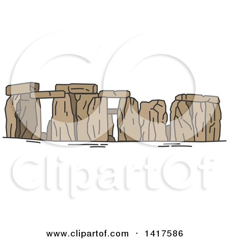 Clipart of a Sketched Great Britain Landmark, Stonehenge - Royalty Free Vector Illustration by Vector Tradition SM