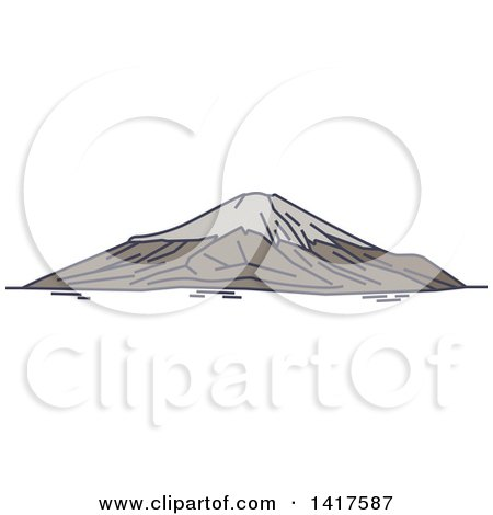 Clipart of a Sketched Japanese Landmark, Mount Fuji - Royalty Free Vector Illustration by Vector Tradition SM