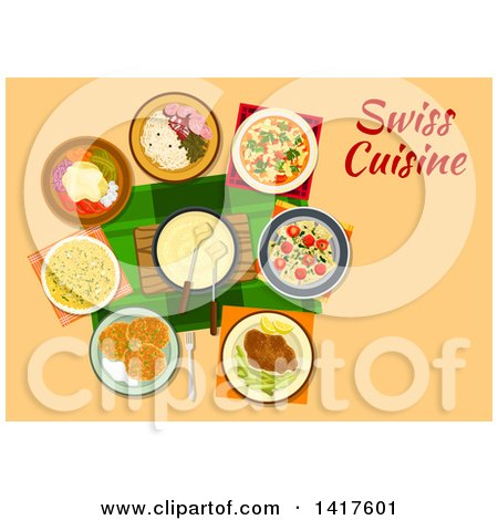 Clipart of a Table with Swiss Cuisine and Text - Royalty Free Vector Illustration by Vector Tradition SM