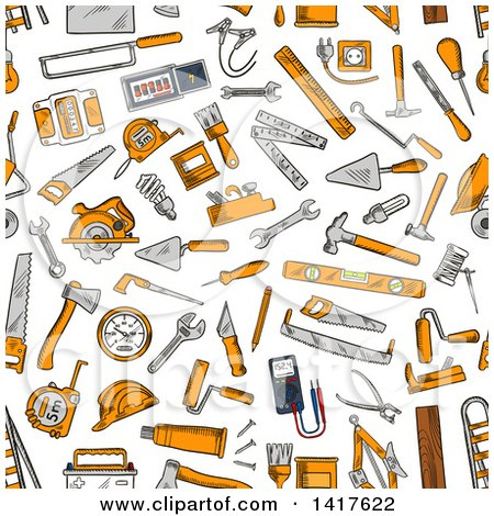Clipart of a Seamless Background Pattern of Tools - Royalty Free Vector Illustration by Vector Tradition SM