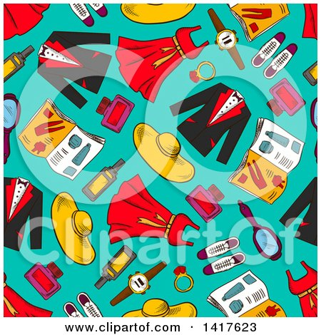 Clipart of a Seamless Background Pattern of Apparel - Royalty Free Vector Illustration by Vector Tradition SM