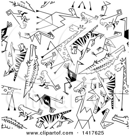 Clipart of a Seamless Background Pattern of Black and White Animals - Royalty Free Vector Illustration by Vector Tradition SM