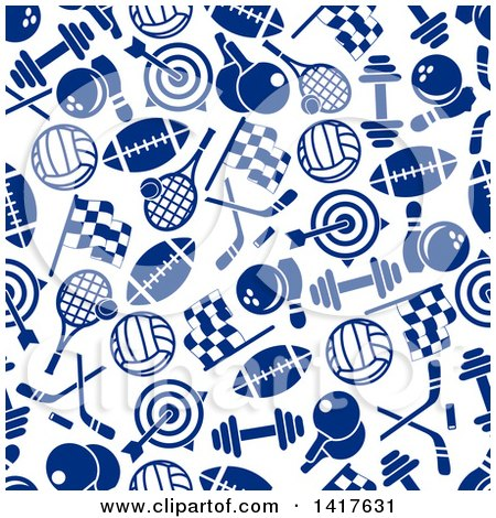 Clipart of a Seamless Background Pattern of Blue Sports Icons - Royalty Free Vector Illustration by Vector Tradition SM