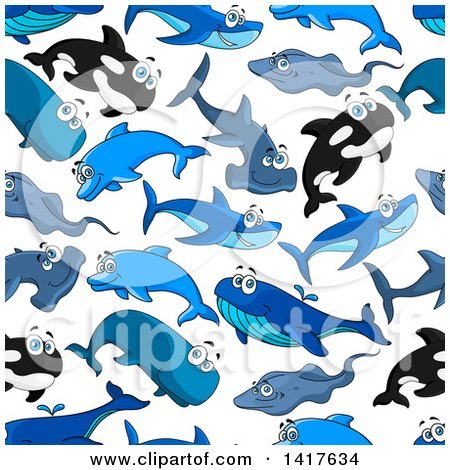 Clipart of a Seamless Background Pattern of Sharks and Whales - Royalty Free Vector Illustration by Vector Tradition SM