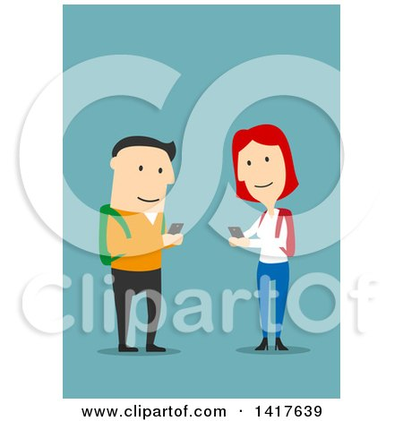 Clipart of a Flat Design College Couple Texting Each Other, on Blue - Royalty Free Vector Illustration by Vector Tradition SM