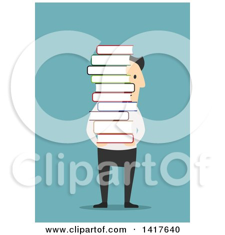 Clipart of a Flat Design Caucasian Business Man Carrying a Stack of Books, on Blue - Royalty Free Vector Illustration by Vector Tradition SM
