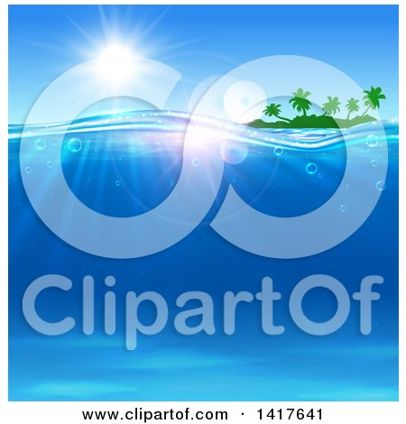 Clipart of a Silhouetted Tropical Island Under a Sunny Sky with Blue Ocean Water - Royalty Free Vector Illustration by Vector Tradition SM