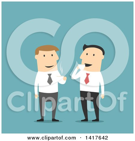 Clipart of Flat Design Caucasian Business Men Talking on Coffee Break, on Blue - Royalty Free Vector Illustration by Vector Tradition SM