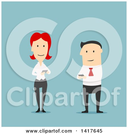 Clipart of a Flat Design Caucasian Business Man and Woman Using Smart Phones, on Blue - Royalty Free Vector Illustration by Vector Tradition SM