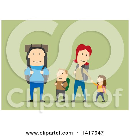 Flat Design Happy Family Hiking On Green