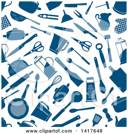 Clipart of a Seamless Background Pattern of Blue Kitchen Accessories - Royalty Free Vector Illustration by Vector Tradition SM