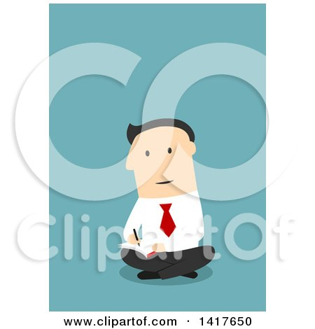 Clipart of a Flat Design Caucasian Business Man Sitting on the Floor and Writing, on Blue - Royalty Free Vector Illustration by Vector Tradition SM