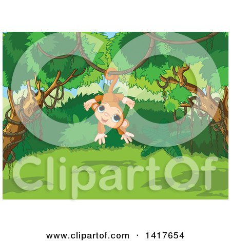 Clipart of a Cute Monkey Hanging from a Vine in a Jungle - Royalty Free Vector Illustration by Pushkin