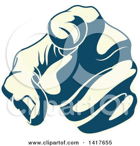 Clipart of a Blue and Pastel Yellow Hand Pointing Outwards - Royalty Free Vector Illustration by Pushkin