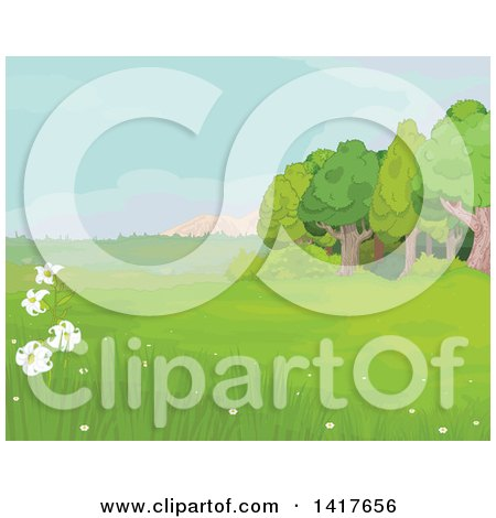 Clipart of a Meadow Landscape with Wild Lilies and Trees - Royalty Free Vector Illustration by Pushkin