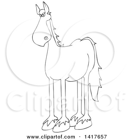 Clipart of a Cartoon Black and White Lineart Horse - Royalty Free Vector Illustration by djart