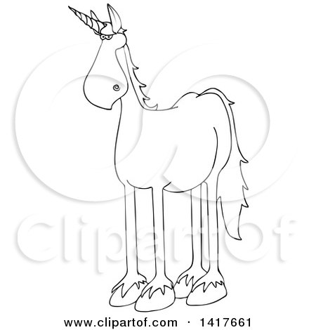 Clipart of a Cartoon Black and White Lineart Unicorn - Royalty Free Vector Illustration by djart
