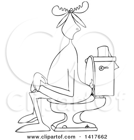 Clipart of a Cartoon Black and White Lineart Moose Sitting Cross Legged on a Toilet - Royalty Free Vector Illustration by djart