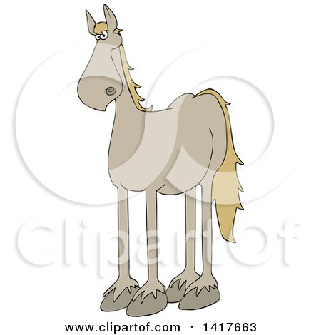 Clipart of a Cartoon Beige Horse - Royalty Free Vector Illustration by djart