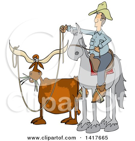 Clipart of a Cartoon Male Rancher Cowboy on a Horse, Roping a Texas Longhorn - Royalty Free Vector Illustration by djart