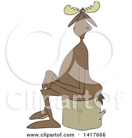 Clipart of a Cartoon Moose Sitting Cross Legged on a Log - Royalty Free Vector Illustration by djart