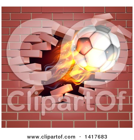 Clipart of a 3d Flying Flaming Soccer Ball Breaking Through a Brick Wall - Royalty Free Vector Illustration by AtStockIllustration