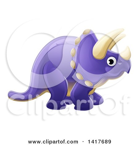 Clipart of a Cute Purple Triceratops Dinosaur - Royalty Free Vector Illustration by AtStockIllustration