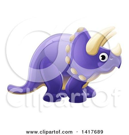 Cute Purple Triceratops Dinosaur Posters, Art Prints