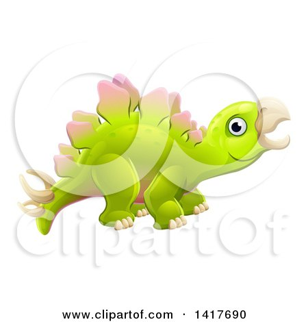 Clipart of a Cute Green Stegosaurus Dinosaur - Royalty Free Vector Illustration by AtStockIllustration