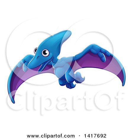 Clipart of a Cute Flying Pterodactyl Dinosaur - Royalty Free Vector Illustration by AtStockIllustration