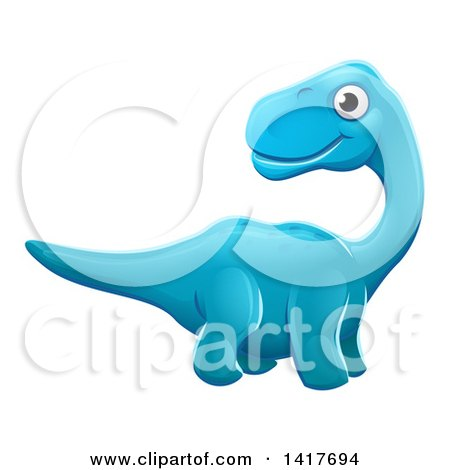 Clipart of a Cute Blue Apatosaurus Dinosaur - Royalty Free Vector Illustration by AtStockIllustration