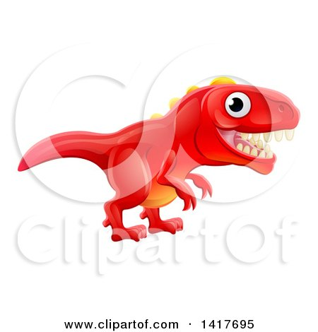 Clipart of a Cute Red Tyrannosaurus Rex Dinosaur - Royalty Free Vector Illustration by AtStockIllustration