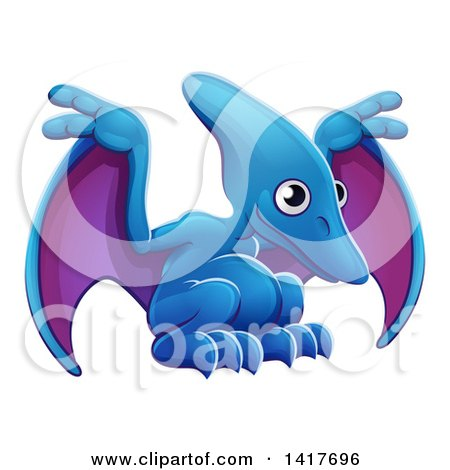 Clipart of a Cute Blue and Purple Pterodactyl Dinosaur - Royalty Free Vector Illustration by AtStockIllustration