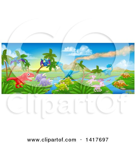 Clipart of a Jurassic Landscape with a Volcano and Dinosaurs - Royalty Free Vector Illustration by AtStockIllustration