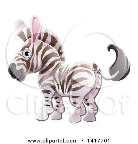 Clipart of a Cartoon Cute African Safari Zebra - Royalty Free Vector Illustration by AtStockIllustration
