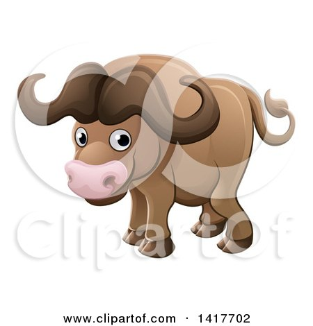 Clipart of a Cartoon Cute African Safari Cape Buffalo - Royalty Free Vector Illustration by AtStockIllustration