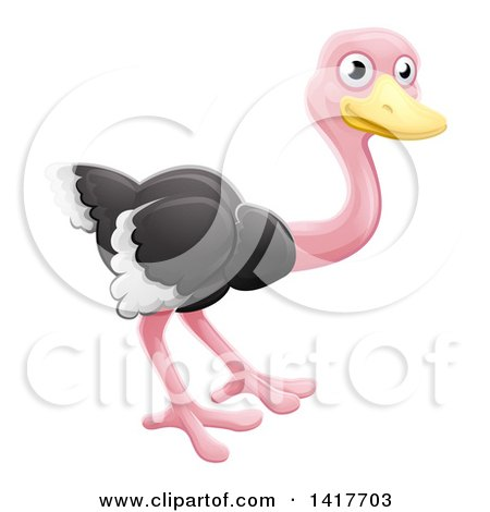 Clipart Of A Cartoon Cute African Safari Ostrich Bird Royalty Free Vector Illustration