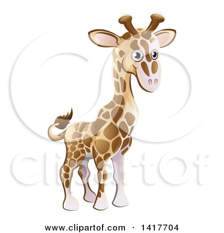 Clipart of a Cartoon Cute African Safari Giraffe - Royalty Free Vector Illustration by AtStockIllustration