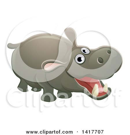 Clipart of a Cartoon Cute African Safari Hippopotamus - Royalty Free Vector Illustration by AtStockIllustration