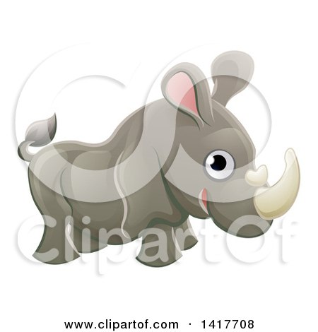 Clipart of a Cartoon Cute African Safari Rhinoceros - Royalty Free Vector Illustration by AtStockIllustration