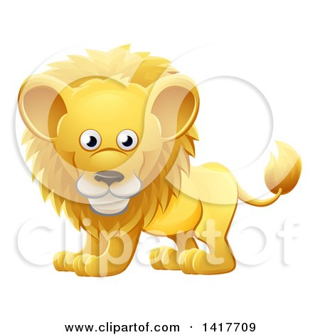Clipart of a Cartoon Cute African Safari Male Lion - Royalty Free Vector Illustration by AtStockIllustration