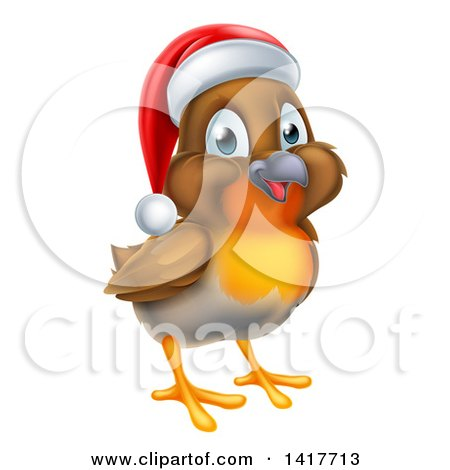 Clipart of a Cheerful Christmas Robin in a Santa Hat, Facing Right - Royalty Free Vector Illustration by AtStockIllustration