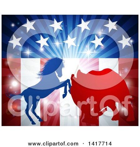 Clipart of a Silhouetted Political Democratic Donkey or Horse and Republican Elephant Fighting over an American Design and Burst - Royalty Free Vector Illustration by AtStockIllustration