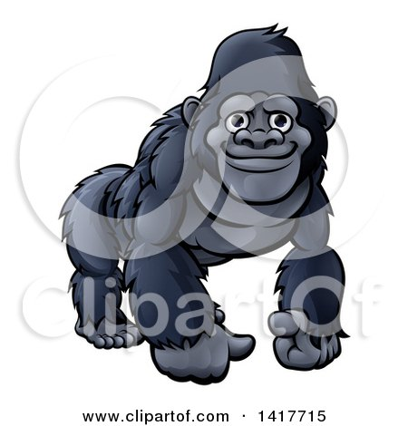 Clipart of a Happy Black Gorilla - Royalty Free Vector Illustration by AtStockIllustration