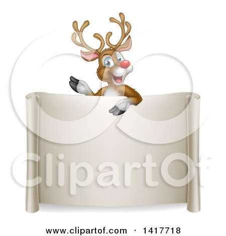 Clipart of a Happy Rudolph Red Nosed Reindeer Waving over a Blank Scroll Sign - Royalty Free Vector Illustration by AtStockIllustration