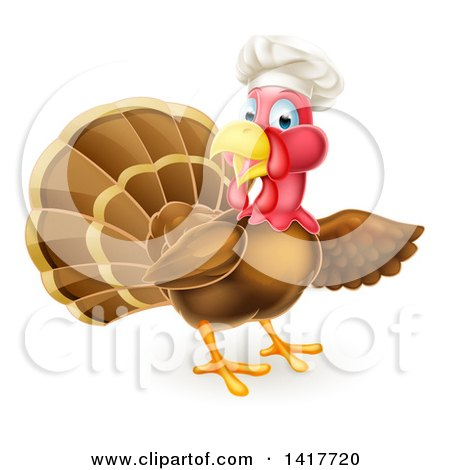 Clipart of a Turkey Bird Chef Presenting to the Right - Royalty Free Vector Illustration by AtStockIllustration