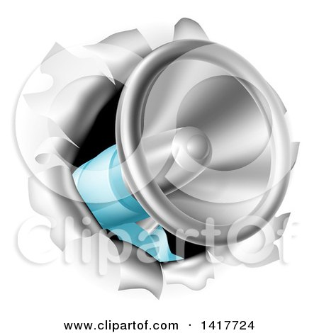 Clipart of a 3d Megaphone Breaking Through a Wall - Royalty Free Vector Illustration by AtStockIllustration